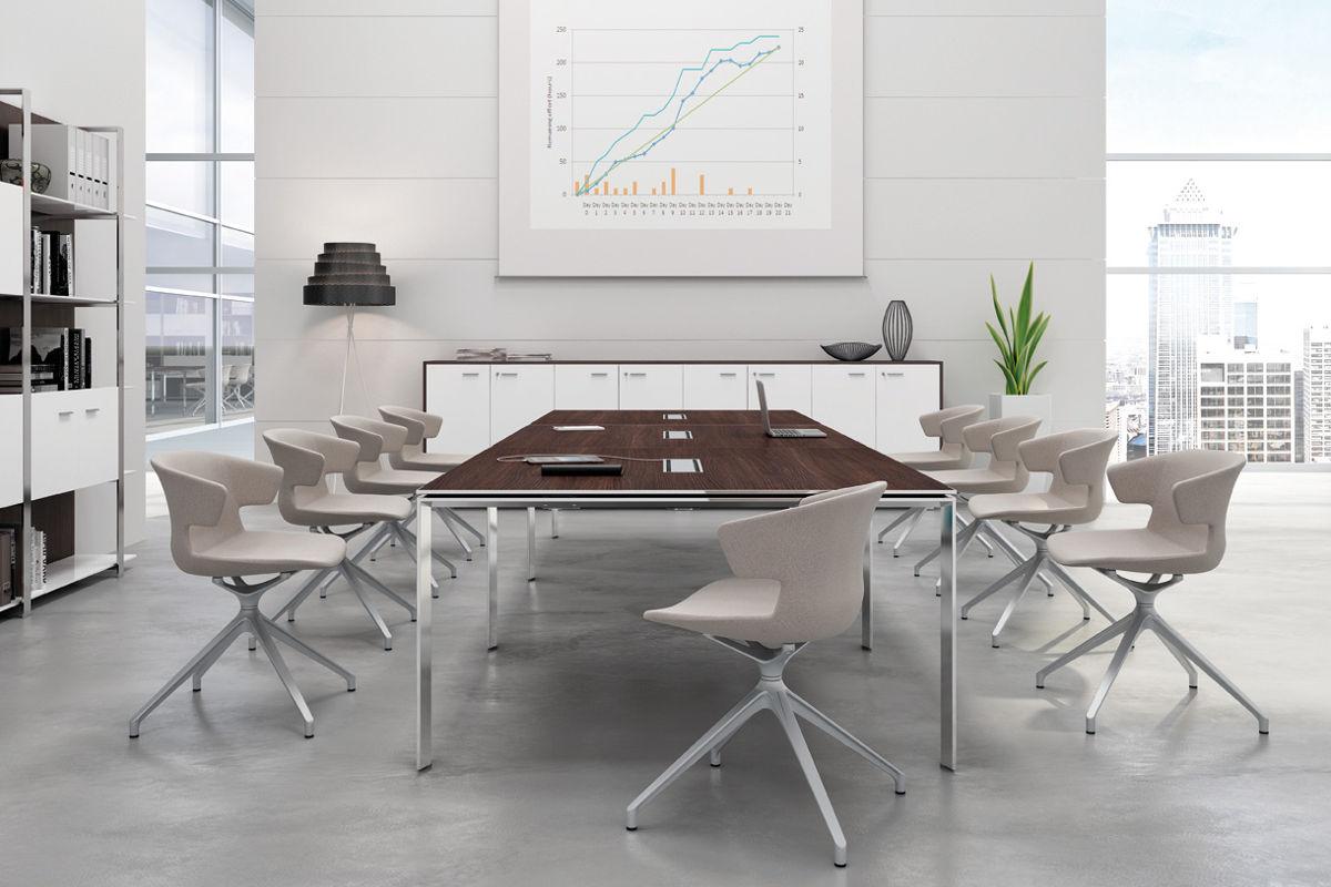 Glider table de réunion en verre bralco meubles sodezign