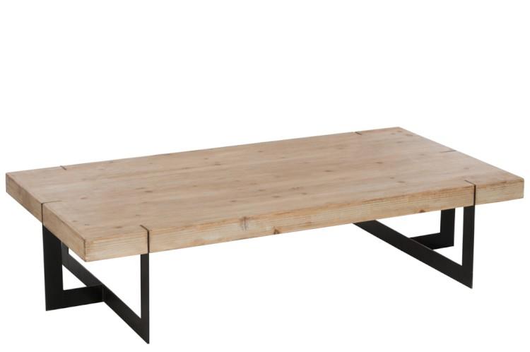 Table Basse Rectangulaire Bois Et Metal Noir J Line Mobilier
