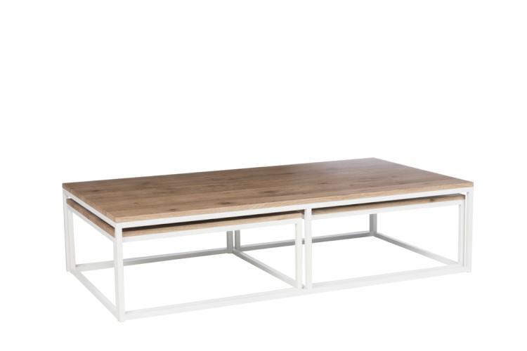 Table Basse Rectangulaire Bois Naturel Et Metal Blanc J Line