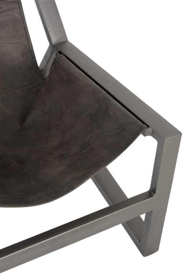 Chaise relax cuiret métal gris J-Line -Jolipa