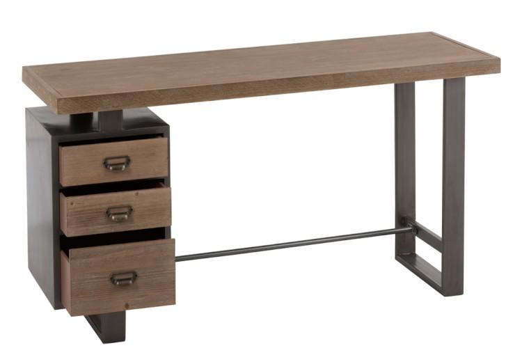 Bureau tiroirs bois metal naturel gris j line mobilier design